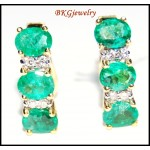 Diamond Jewelry Gemstone 18K Yellow Gold Emerald Earrings [E0091]