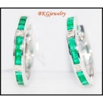 Genuine Gemstone 18K White Gold Diamond Emerald Earrings [EL0006]