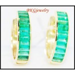 Unique Gemstone Emerald Huggie Earrings 18K Yellow Gold [EL0008]