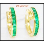 Gemstone Emerald Jewelry 18K Yellow Gold Unique Earrings [EL0009]