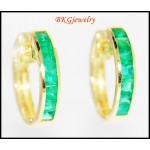 18K Yellow Gold Eternity Gemstone Jewelry Emerald Earrings [EL0012]