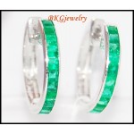 Gemstone Jewelry 18K White Gold Unique Emerald Earrings [EL0011]