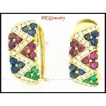 Natural Diamond Multi Gemstone Earrings 18K Yellow Gold [E0058]