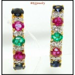 Genuine Multi Gemstone Diamond 18K Yellow Gold Earrings [E0074]