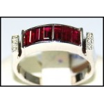 Diamond and Ruby Ring Solid 18K White Gold [RQ0036]