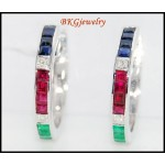 18K White Gold Diamond Multi Gemstone Huggie Earrings [EL0004]