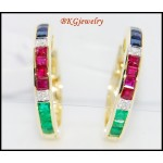 Multi Gemstone Diamond Huggie Earrings 18K Yellow Gold [EL0004]