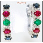 Genuine Diamond Multi Gemstone Earrings 18K White Gold [E0075]