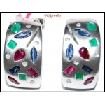 Natural Diamond 18K White Gold Multi Gemstone Earrings [E_098]