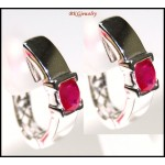 Natural Ruby Diamond 14K White Gold Clip-On Earrings [E_102]