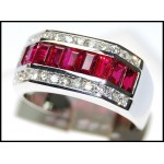 Gorgeous Baguette Ruby Ring Diamond 18K White Gold [RQ0049]
