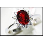 Solitaire Ruby Ring and Diamond Solid 18K White Gold [RS0001]