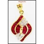 Natural Gemstone Diamond 18K Yellow Gold Ruby Pendant [P0089]