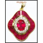 Natural Diamond Ruby Gemstone Pendant 18K Yellow Gold [P0137]
