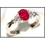 18K White Gold Diamond and Ruby Solitaire Ring [RS0006]