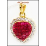 Unique Diamond Ruby Heart Pendant 18K Yellow Gold [P0069]