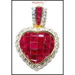 Unique Diamond Ruby Heart Pendant 18K Yellow Gold [P0144]