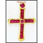 Eternity Cross Diamond Ruby 18K Yellow Gold Pendant [P0116]