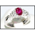 Solitaire Ruby and Diamond Ring Solid 18K White Gold [RS0011]