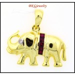 Natural Ruby 18K Yellow Gold Diamond Elephant Pendant [P0019]