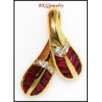 18K Yellow Gold Unique Diamond Leaf Ruby Pendant [P0068]