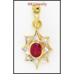 Natural Diamond Ruby Star Pendant 18K Yellow Gold [P0098]
