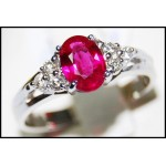 Pink Ruby and Diamond Ring Solid 18K White Gold [RS0013_1]