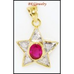18K Yellow Gold Ruby Star Pendant Natural Diamond [P0099]
