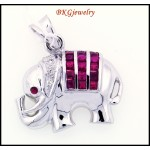 Diamond Ruby Elephant Pendant Natural 18K White Gold [P0009]