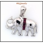 Genuine Ruby Diamond Elephant Pendant 18K White Gold [P0018]