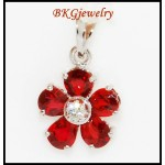 Flower Pendant 18K White Gold Eternity Diamond Ruby [P0022]