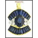 Natural Diamond 18K Yellow Gold Blue Sapphire Pendant [P0002]