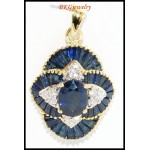 18K Yellow Gold Blue Sapphire Natural Diamond Pendant [P0003]