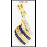 18K Yellow Gold Natural Diamond Blue Sapphire Pendant [P0080]