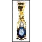 Blue Sapphire Pendant Solitaire Diamond 18K Yellow Gold [P0133]