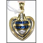 18K Yellow Gold Blue Sapphire Heart Pendant Eternity Diamond [P0104]