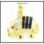Elephant Pendant Diamond Blue Sapphire 18K Yellow Gold [P0013]