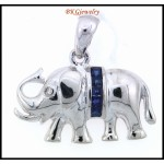 Diamond Blue Sapphire Unique Elephant Pendant 18K White Gold [P0016]