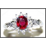 Ruby and Diamond Solitaire Ring Solid 18K White Gold [RS0044]