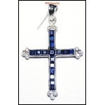 Natural Blue Sapphire Diamond Cross Pendant 18K White Gold [P0125]