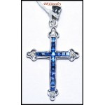 Genuine Diamond Blue Sapphire Cross Pendant 18K White Gold [P0126]