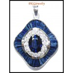Diamond Blue Sapphire Pendant Jewelry 18K White Gold [P0138]