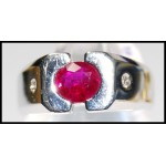 18K White Gold Pink Oval Ruby and Diamond Ring [RS0064]