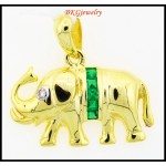 Elephant Pendant Diamond Natural Emerald 18K Yellow Gold [P0015]