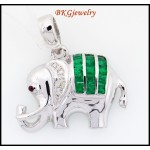 Emerald Pendant Diamond 18K White Gold Elephant Jewelry [P0006]