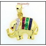 18K Yellow Gold Multi Gemstone Elephant Pendant Diamond [P0010]