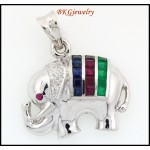 18K White Gold Elephant Pendant Diamond Multi Gemstone [P0011]