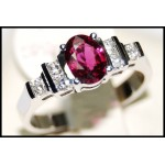 Diamond and Ruby Gemstone Solid 18K white Gold Solitaire Ring [RS0083]