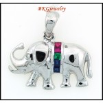 Diamond Elephant Multi Gemstone Pendant 18K White Gold [P0020]