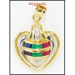 Diamond Multi Gemstone Heart Pendant Jewelry 18K Yellow Gold [P0103]